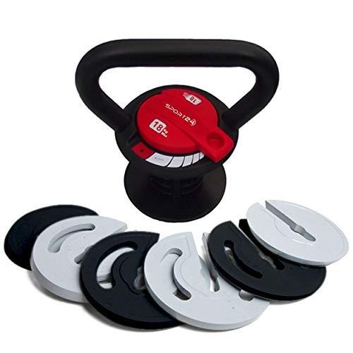 Sport24 Kettlebell de Hierro Fundido Ajustable con Toalla -para Brazos Piernas Núcleo Músculo Ejercicio Cuerpo Cuerpo Fuerza Peso Gimnasio 5Kg 10kg 12kg 18kg(2X Rojo)