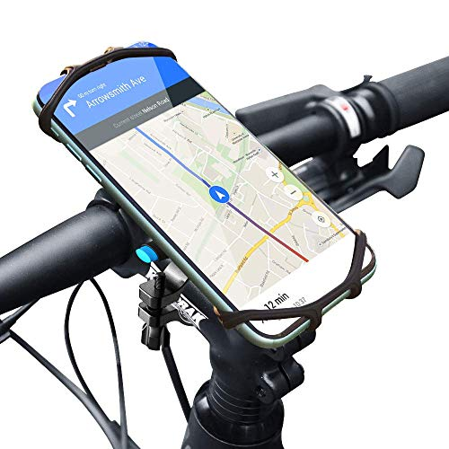 "SPORTLINK Metal Bike Phone Mount, Universal Bicycle & Motorcycle Handlebar Rack Cradle Holder for iPhone 12/11, iPhone SE 2020, Galaxy S20, Huawei P40 and Other Phones 4.0"" - 6.5"" Wide"