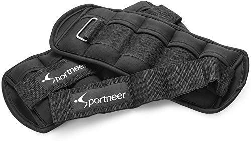 Sportneer - Juego de 2 Pesas para Tobillo y muñeca (454 g hasta 3,18 kg), Color Negro