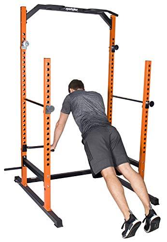 SportPlus SP-HG-020 Power Rack Jaula Potencia con Soporte para Pesos– Musculación y Crosstraining – Dominadas, Dips, Press de Banca, etc. – Seguridad Comprobada, 136x120x210cm