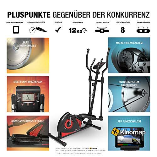 Sportstech CX608 Bicicleta Elíptica - Marca de Calidad Alemana - Video Eventos y App multijugador - Consola compatible con Bluetooth, Pulsómetro incluido, Soporte para Tablet, crosstrainer eliptica (CX608_DE)