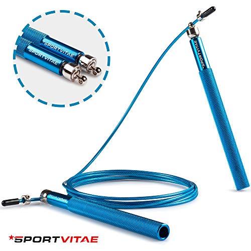 Sportvitae Comba ALUPRO de Alta Velocidad | Speed Jump Rope |Empuñaduras de Aluminio Muy Ligeras y Cómodas | Cable de Acero 2,5 mm | Cuerda Ideal para Crossfit, Boxeo, MMA, Fitness | Hombre y Mujer