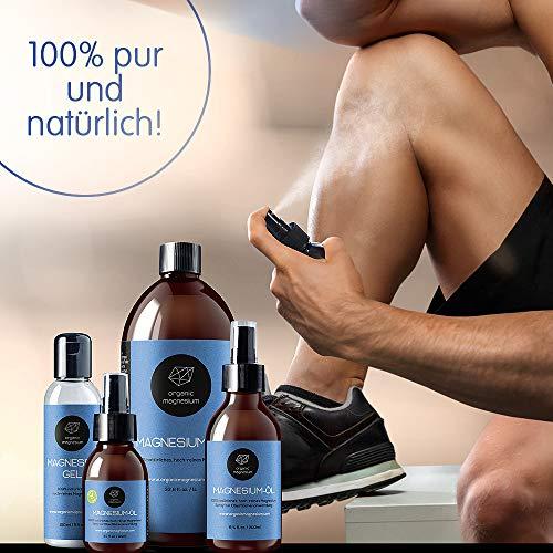 Spray de aceite de Magnesio ultra puro de Organic Magnesium, aceite de Zechstein puro 100% natural, perfecto para deportes y masajes, botellas de 1000 ml + 100 ml