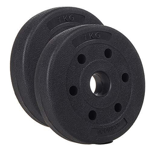 SPRINGOS - Discos para pesas (1 kg, 1,25 kg, 2,5 kg, 5 kg, 10 kg, 15 kg, 20 kg, de plástico, con peso) para acondicionamiento físico, 1 kg.
