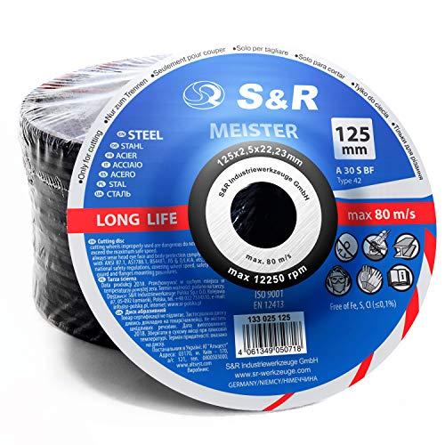 S&R 20 Discos de Corte 125mm para Metal y Acero Inox (125 x 2,5 x 22,23 mm A30 S-BF, T42). Disco para amoladora 125