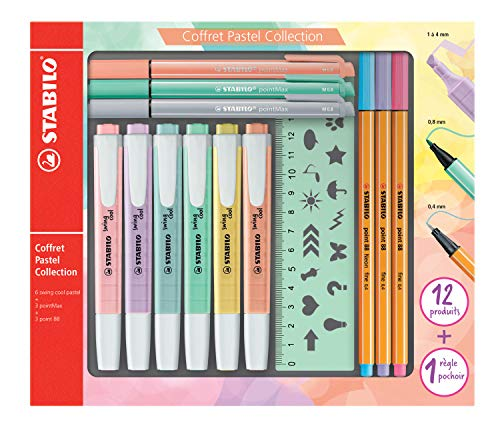 Stabilo f52064 Pastel Collection – Coffret combinada (13 piezas: 6 Swing Cool, 3 Point 88, 3 pointmax con 1 regla plantilla