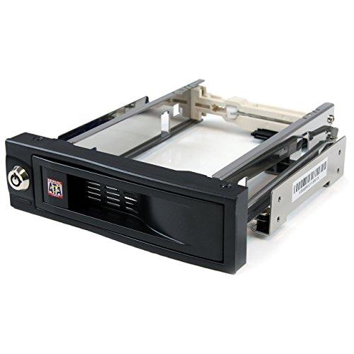 """StarTech.com HSB100SATBK - Rack móvil para Disco Duro SATA de 3.5"""" sin Bandeja removible para bahía 5.25"""" (trayless de Intercambio en Caliente)"""