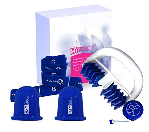 Stephanie Franck Beauty Set Anticelulitico2 con uno Rodillo Masaje, dos Ventosas y una Elastica Fitness (Azul)