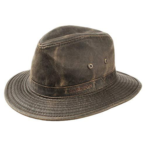 Stetson Sombrero vagabundo Traveller para Hombre - Sombrero Aventurero de algodón con protección UV 40+ - Sombrero de Exteriores Estilo Retro - Verano/Invierno - marrón XL (60-61 cm)