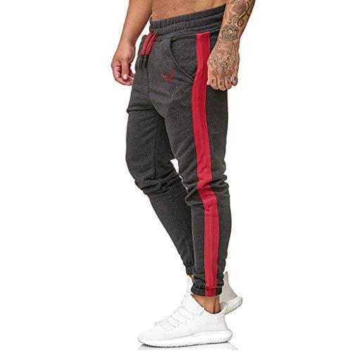Subfamily Pantalón Deportivo Casual para Hombre, Moda Casual Deportes Al Aire Libre Correr Cordón Imprimir Pantalones Largos Gris Oscuro S