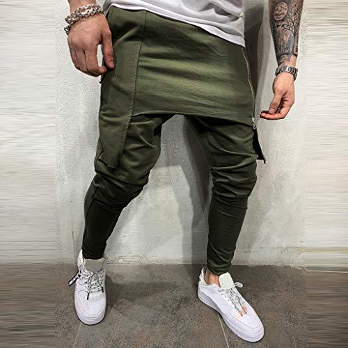 Subfamily Pantalón Deportivo para Hombre con Herramientas de Doble Costura En Color Liso Pantalones Cortos de Cremallera de Doble Capa Pantalones Deportivos de Bolsillo de Trabajo Ejercito Verde XXXL