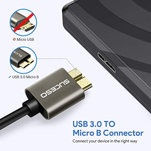 SUCESO Cable Micro B 3.0 [0.5M] Cable USB 3.0 Tipo A a Micro B Macho Cable de Sincronización 5 Gbps para Discos duros Externos WD,Toshiba Canvio,Seagate,Cables rápido 3.0 para Samsung Galaxy S5,Note 3