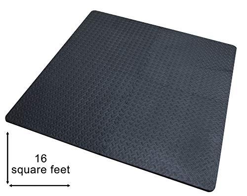 Suelo goma eva; 4 Piezas y 8 Bordes; Grosor de 2cm; 61,5 x 61,5cm; suelo gimnasio – Más gruesas y grandes que las baldosas habituales, para Gym, Tatami Puzzle.