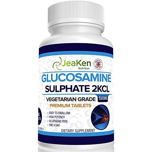 SULFATO DE GLUCOSAMINA 2KCl 1500 mg Por JeaKen - Suplementos para Articulaciones   Glucosamina de Alta Resistencia   Grado Vegetarianos y Veganos   365 Tabletas (Suministro Para 1 Año) Sin Alérgeno