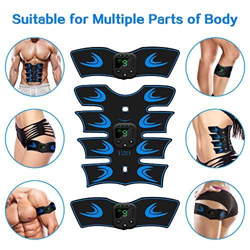 sumgott EMS Electroestimulador Muscular Abdominales, USB Recargable EMS Estimulador Muscular Abdominales para Abdomen/Cintura/Pierna/Brazo