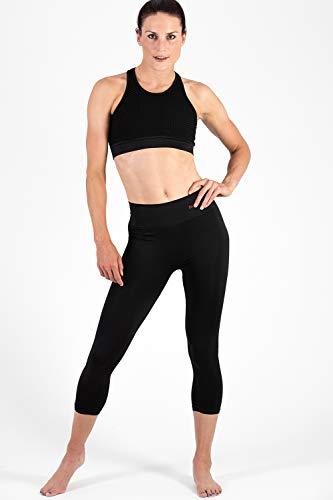 Sundried Leggings Recortada 3/4 Capri Yoga Medias Mujeres Running Training (Negro, M)
