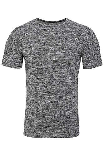 Sundried Mens Ajuste del músculo Compresión Camiseta sin Fisuras Atlético Gimnasio Ropa (Gris, L-XL)