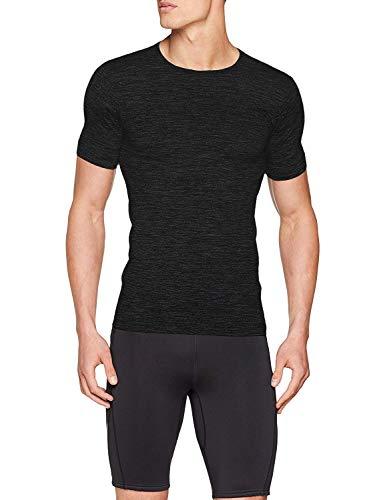 Sundried Mens Ajuste del músculo Compresión Camiseta sin Fisuras Atlético Gimnasio Ropa (Negro, S)