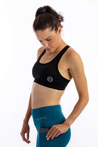 Sundried Premium Sujetador de los Deportes Running Fitness, Yoga Entrenamiento Acolchada Crop Top (L, Negro)