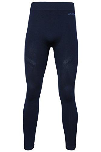 Sundried Rendimiento Medias de formación Hombres por un Gimnasio de Yoga Corrientes de los Deportes - Mens Winter Leggings (Negro, M)
