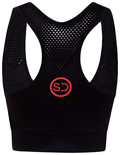 Sundried señoras Sujetador de los Deportes de Alto Impacto Entrenamiento Running Wear Yoga Crossfit (Negro, M)