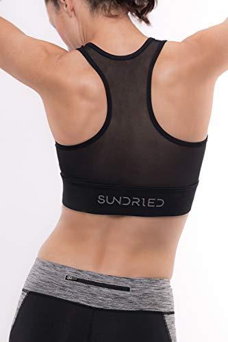 Sundried Sujetador de los Deportes de Cultivos Top para Mujer Camiseta de Entrenamiento Correr Gimnasio Entrenamiento de la Yoga (Negro, XL)
