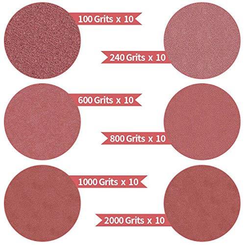 SunTop Papel de Lija de 60 piezas ø76 mm, Disco de Lija, Diamante Almohadilla de Pulido Discos autoadhesivos de papel de lija, granulación de 100, 240, 600, 800, 1000, 2000 Lijadora