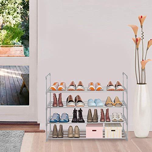 sunvito Estante del Zapato, Zapatero con 4 Estantes 20 Pares de Zapatos de Torre Organizador del Estante del Almacenaje Gris (Gris)