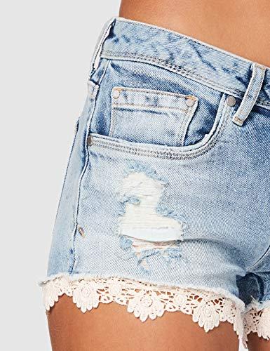 Superdry Lace Hot Short Pantalones Cortos, Azul (Mid Indigo Destroy Js5), 40 (Talla del Fabricante: 28) para Mujer