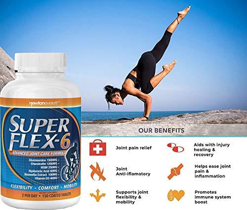 SUPERFLEX-6 - Fórmula avanzada para el cuidado de las articulaciones (glucosamina, condroitina, MSM, vitamina D, ácido hialurónico y extracto de boswellia) - 150 tabletas