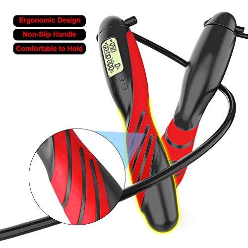 SUPERSUN Cuerda para Saltar con Contador, Combas Saltar para Fitness Contar Velocidad, Calorías, Peso, Tiempo de Ejercicio para Crossfit, Perder Perder Peso, Deporte al Interiores y Aire Libre