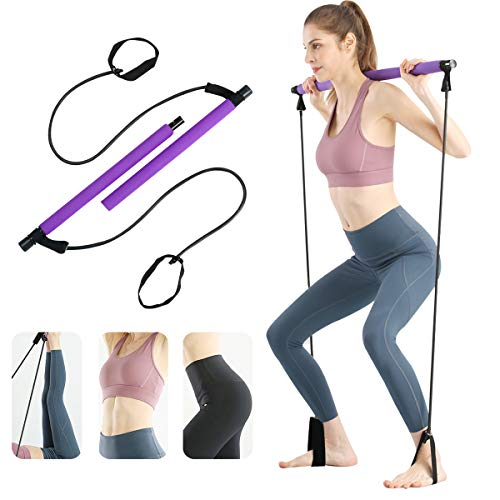 Surplex Kit de Barra de Pilates portátil con Banda de Resistencia, Bodybuilding Yoga Pilates Stick con Foot Loop, Core Strength Fitness Gym para Terapia Física, Estiramiento, Esculpido, Torsión