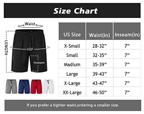 Suyye - Pantalones cortos deportivos para hombre, 7 pulgadas, con bolsillos - Multi - Large