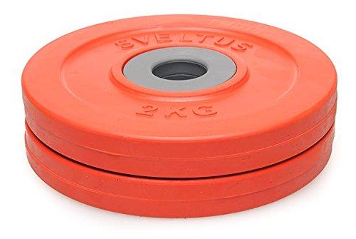 Sveltus Discos Fit'us 2 kg Adulto Unisex, Rojo, Diám. Aprox. 16,5 cm.