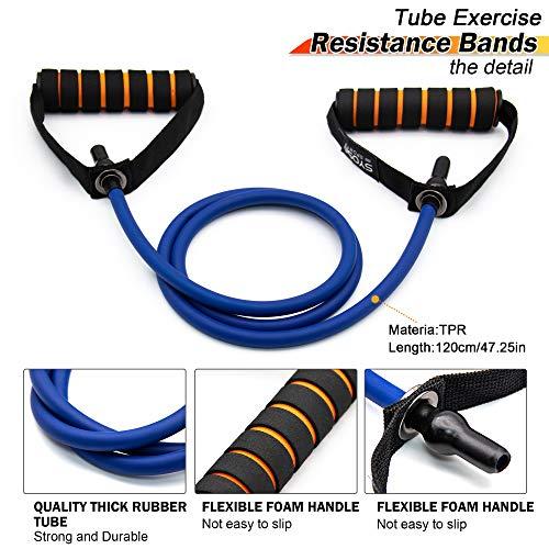 SYOSIN Elásticos de fitness, Banda de resistencia al ejercicio con tubo Profesional, Ideal for Physical Therapy, Strength Training, Muscle Toning, Bolsa de almacenamiento de anclaje de puerta incluida