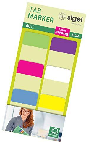 Tab Marker Film Adhesivo Marcadores Extra Fuerte 25 x 38 mm 60 hojas de limón / color de rosa / azul / púrpura / blanco / amarillo