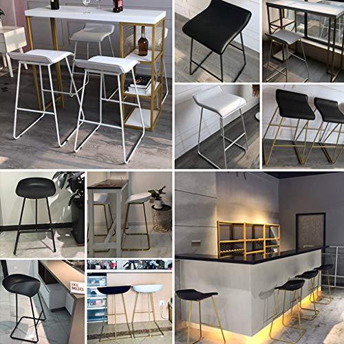 Taburete de Bar Arte de Hierro Desayuno Silla Alta con Las piernas de Soporte Blanco para café/Dormitorio/Sala de Estar/balcón (Altura sentada: 65/70 / 75cm)