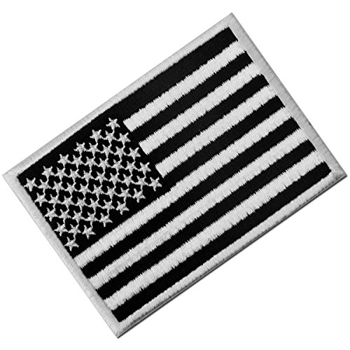 Táctico Bandera estadounidense Estados Unidos de America Emblema Uniforme militar Parche Bordado de Aplicación con Plancha, Blanco negro