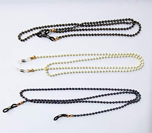 takestop® - Cuerdas de cordón con Cuentas de Metal Dorado y Perlas de Colores, Longitud 62 cm, para Gafas, Cadena, Cuerda, Hilo, Gafas de Sol, Vistas, cordón, Cadena Deportiva