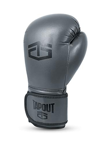Tapout Guantes Boxeo Hombre Dura-Leather PU Training Sparring Classic (Gris, 12 oz)