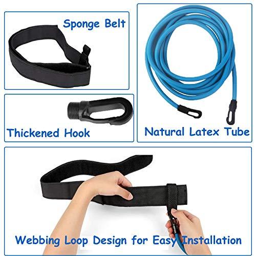 TATAFUN Cinturón de Natación Ajustable para Piscinas de Natación, Exteriores Cinturón de Resistencia para Natación, Cinturón de Entrenamiento de Natación (Azul)