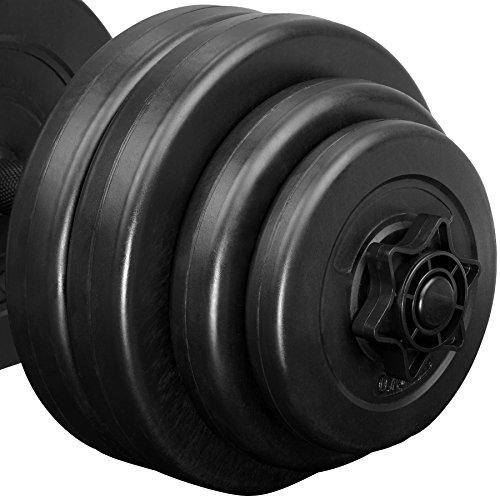 TecTake 2X Mancuerna con Pesas | Forro de plástico | Superficie de Agarre estriada para un Agarre Seguro | -Varios Modelos- (30 kg | no. 402587)