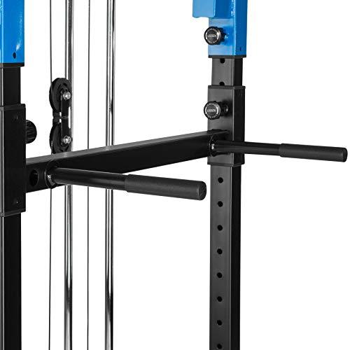 TecTake Multiestación de Fitness para Entrenamiento | 2 puntales de Seguridad macizos | Poleas para Barras de Flexiones Inferiores y Superiores Modelos (Azul Negro Lat | No. 402598)