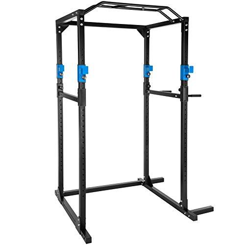 TecTake Multiestación de Fitness para Entrenamiento | 2 puntales de Seguridad macizos | Poleas para Barras de Flexiones Inferiores y Superiores Modelos (Azul Negro | No. 402737)