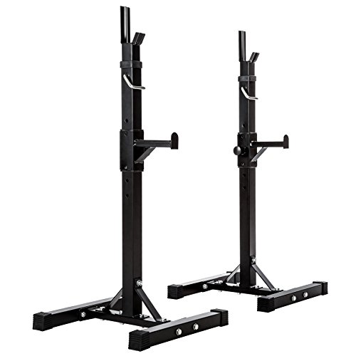 TecTake Soporte para Barra DE Pesas HALTERA Base Regulable | Regulable en Altura 12 Veces | Carga MAX. 100kg | Negro