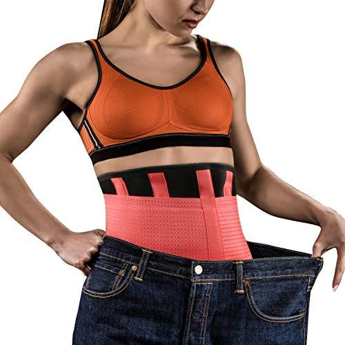 Tencoz Faja Deportiva Waisttrainer, Fajas Reductoras Adelgazantes Cinturón Abdominal Cinturón para el Sudor Mujer Cintura Entrenador Cintura Cinturón de Adjustable para Deporte Fitness (Rosa)