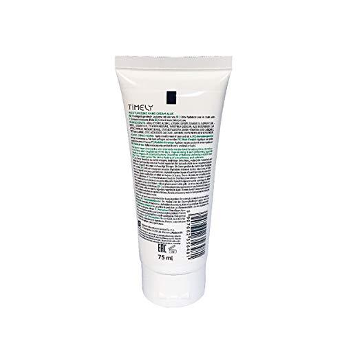Timely - Crema de manos hidratante y regeneradora con aloe (pack de 4 x 75 ml)