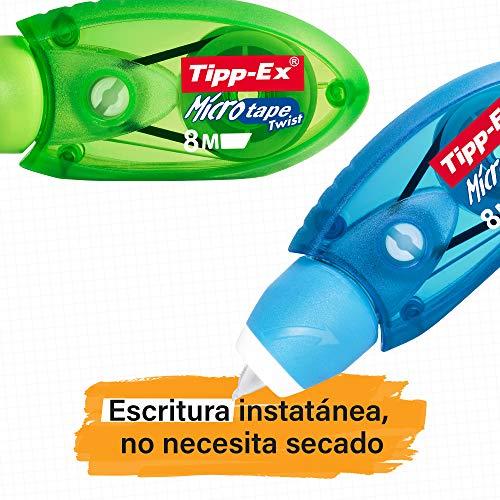 Tipp-Ex Micro Tape Twist Cinta Correctora 8 m x 5 mm – colores Surtidos, Blíster de 2+1 unidades