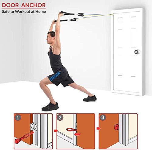 Tmtonmoon - Juego de bandas de resistencia para ejercicios, yoga, pilates, equipo de gimnasio en casa para piernas y glúteos con anclaje de puerta, correa de tobillo, funda de transporte