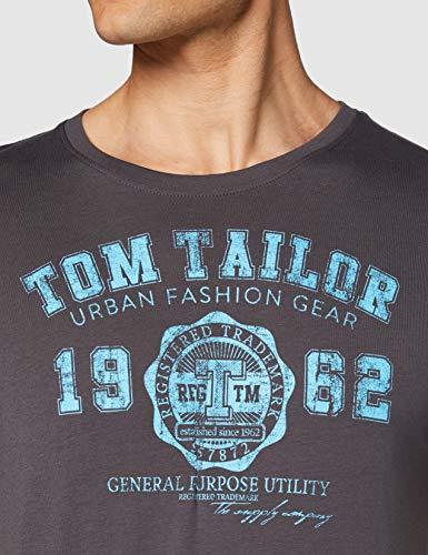 Tom Tailor Logo Camiseta, Gris (Tarmac Grey 10899), XX-Large para Hombre